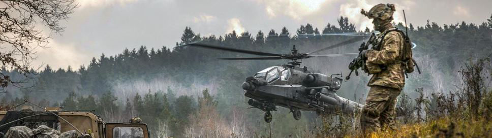 An AH-64 Apache takes off during Allied Spirit VII, a 13-nation training exercise, in Grafenwoehr, Germany, in 2017. (U.S. Defense Department photo)