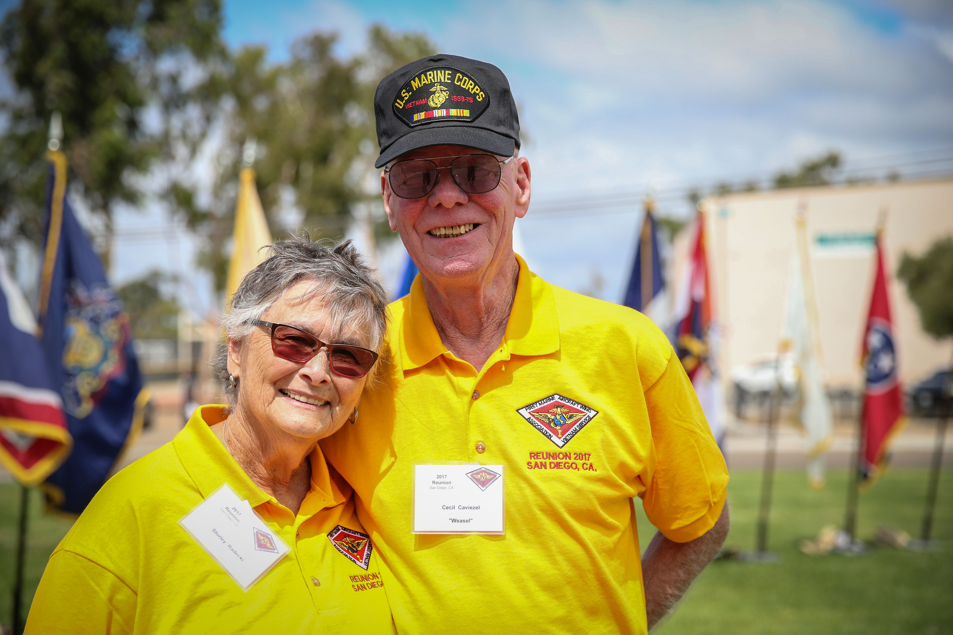 Retired veteran Cecil Caviezel and his wife, Shirley, pose for a photo at Marine Corps Air Station Miramar, California. (U.S. Marine Corps/Andrianna Talbot)