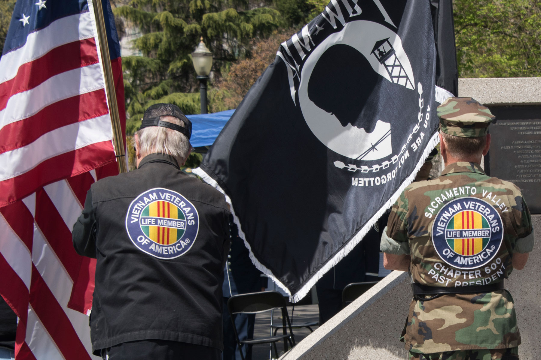 Members of the Vietnam Veterans of America, Sacramento Valley Chapter 500, retire the colors during the Vietnam War Veterans Day and 50th Commemoration ceremony, March 29, 2018 at the State Capitol in Sacramento, Calif. (U.S. Air Force Photo by Heide Couch)