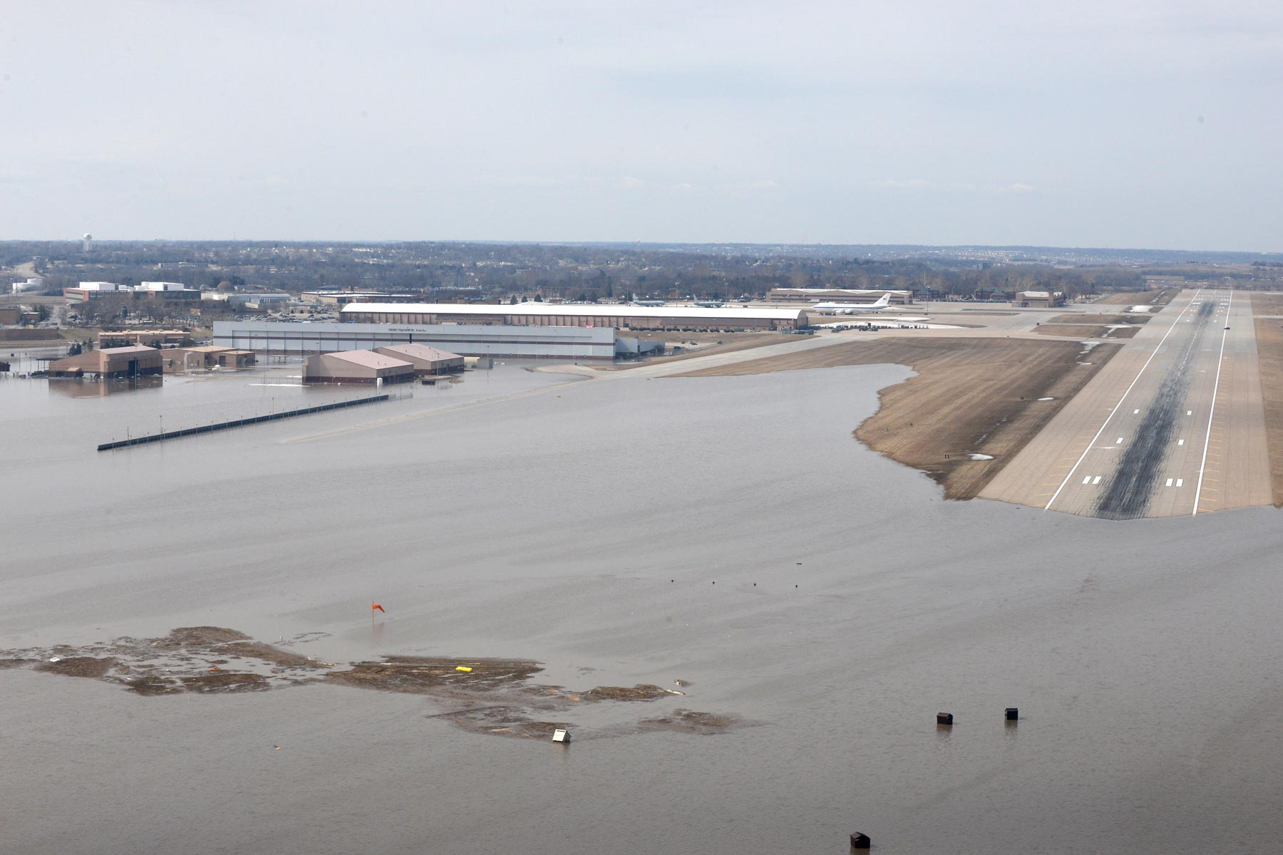 Dozens of Buildings Underwater at Offutt Air Force Base After Massive Flood
