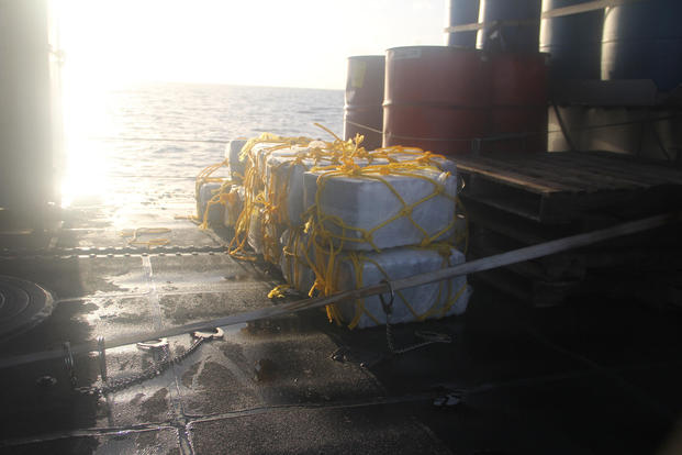 Personnel assigned to the Cyclone-class patrol coastal USS Zephyr intercepted a small boat carrying 35 bales, approximately 700-1050 kg of cocaine while on a routine patrol in the Caribbean sea, Oct. 29, 2017. (U.S. Navy photo/Michael Hendricks)