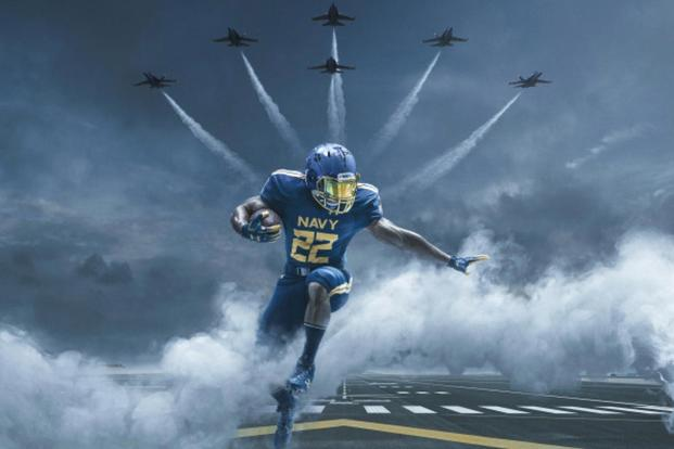 The number font is inspired by the numbers on the tail of the F/A-18 Hornet aircraft. The color of the uniforms are an exact match to the Blue Angels flight suit. (Navy image)