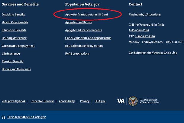 A screen shot of the link on the Vets.gov website users can visit to apply for the new VA ID card. (Military.com)