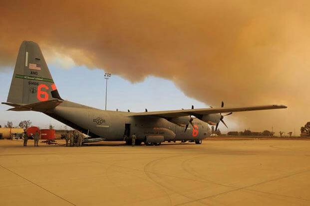 A C-130J from the 146th Airlift Wing at Channel Islands Air National Guard Station in Port Hueneme, Calif., is shown in 2013. Two of the planes have been used in the fight against California wildfires this week, officials said. Senior Airman Nicholas Carzis/Air National Guard