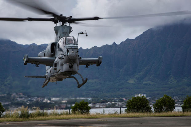 U.S. Marine Corps AH-1Z Viper helicopters arrive at Marine Corps Air Station, Kaneohe Bay, Dec. 19, 2017. (U.S. Marine Corps photo/Alex Kouns)
