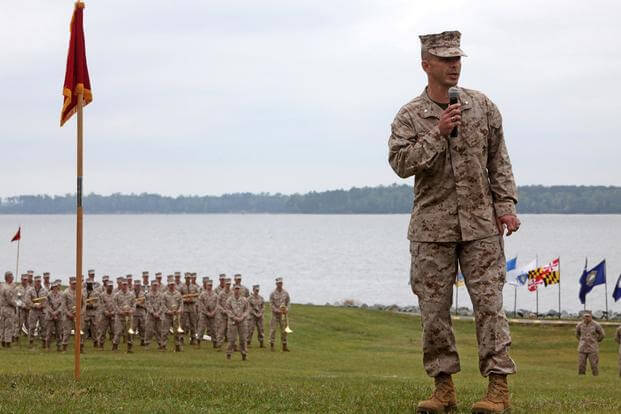 FILE PHOTO -- Lt. Col. Christopher D. Hrudka during a change of command ceremony aboard Camp Lejeune, N.C., April 19, 2012. (U.S. Marine Corps/Cpl. Michael Augusto)