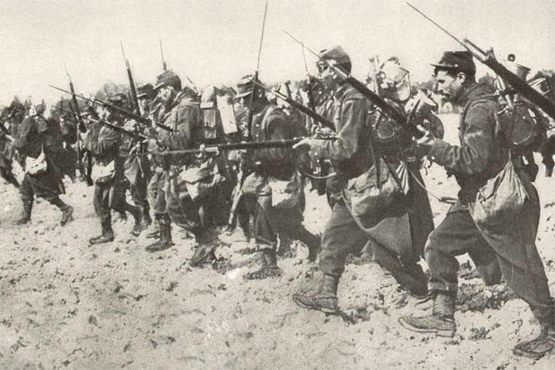 A remarkable photograph of an actual bayonet charge by French soldiers typical of the gallantry and spirit they display in action.
