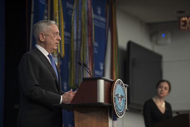 Secretary of Defense James Mattis announces the National Defense Strategy at Johns Hopkins University School of Advanced International Studies in Washington, Jan. 19. (DoD/Navy Mass Communication Specialist 1st Class Kathryn E. Holm)