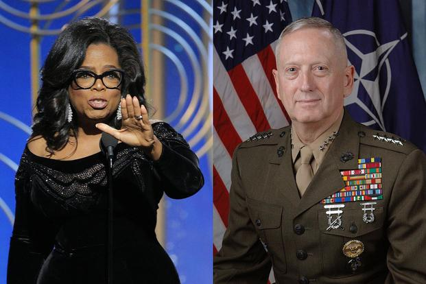 Who would you rather vote for -- Oprah Winfrey, left, or Defense Secretary Jim Mattis?