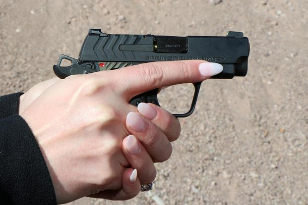 Springfield Armory is offering its new 911 pocket pistol as a nice choice for women looking for a small, controllable carry gun. Photo by Matthew Cox/Military.com
