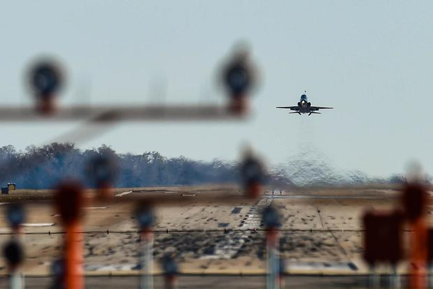 A U.S. Air Force T-38 Talon takes off during training at Joint Base Langley-Eustis, Va., on Nov. 29, 2017. Airman 1st Class Tristan Biese/Air Force