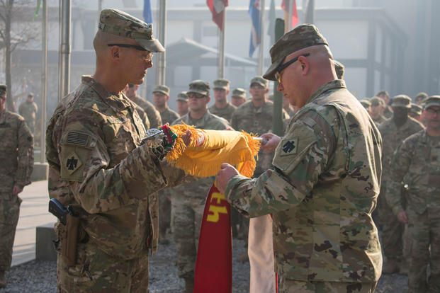 Oklahoma Army National Guard members of 1st Squadron, 180th Cavalry Regiment, 45th Infantry Brigade Combat Team, held a transfer of authority ceremony in Kabul, Afghanistan, Dec. 31, 2017, alongside members of 3rd Squadron, 73rd Cavalry Regiment, 1st Brigade Combat Team, 82nd Airborne Division, representing the transfer of mission from one organization to another. (U.S. Army photo/Lina Castillo)