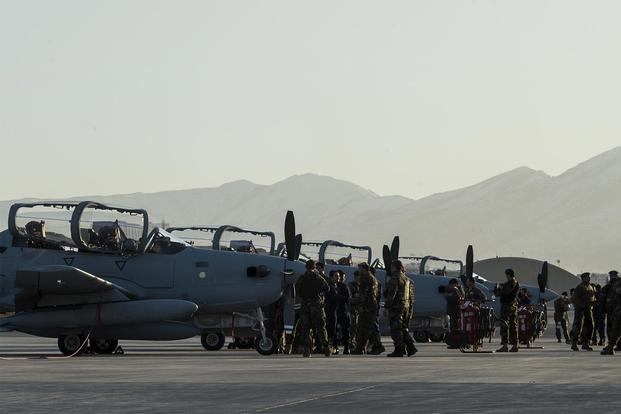 Four A-29 Super Tucanos arrive at Hamid Karzai International Airport, Afghanistan, Jan. 15, 2016. (U.S. Air Force/Sgt. Nathan Lipscomb)