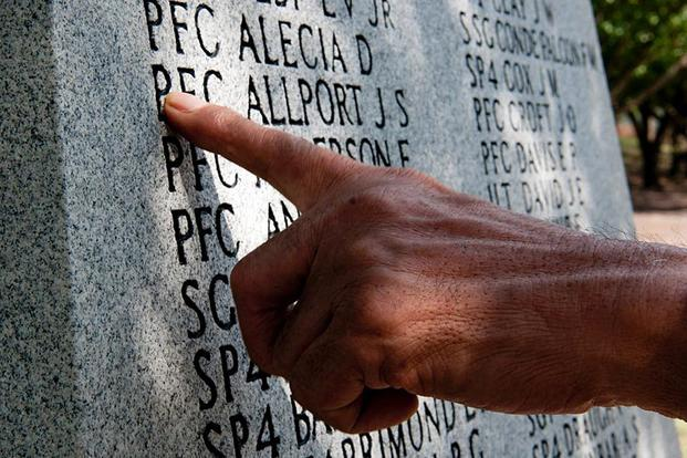 In a 2012 file photo, a Golden Brigade veteran takes a moment to remember fallen paratroopers from Vietnam before a memorial ceremony at the 82nd Airborne Division Museum at Fort Bragg. Joseph Guenther/Army