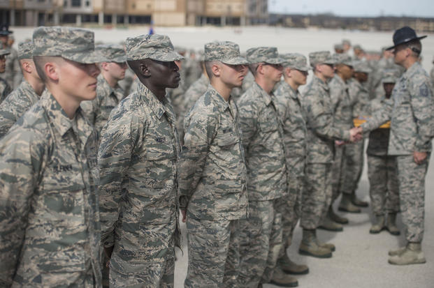 Gour Maker stands in formation at the Coin Ceremony Feb. 1, 2018 outside the Pfingston Reception Center at Joint Base San Antonio-Lackland, Texas. (U.S. Air Force/Dillon Parker)