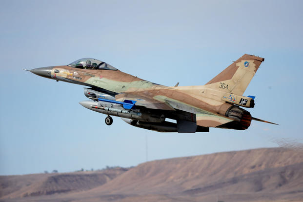 An Israeli Air Force F-16 departs on a mission at Uvda Air Force Base, Israel on Nov. 26, 2013. (US Air Force photo/Lee Osberry)