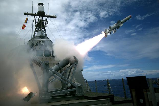 The USS Coronado (LCS 4) launches the first over-the-horizon missile engagement using a Harpoon Block 1C missile as part of Rim of the Pacific Exercise 2016. (U.S. Navy/Lt. Bryce Hadley)