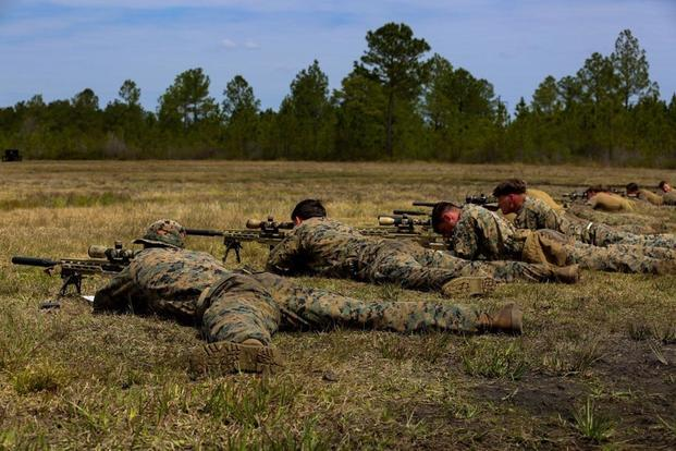 Marines aim and fire M40A6 rifles during an urban sniper course at Camp Lejeune, N.C., March 30, 2017. (U.S. Marine Corps photo by Lance Cpl. Jon Sosner)