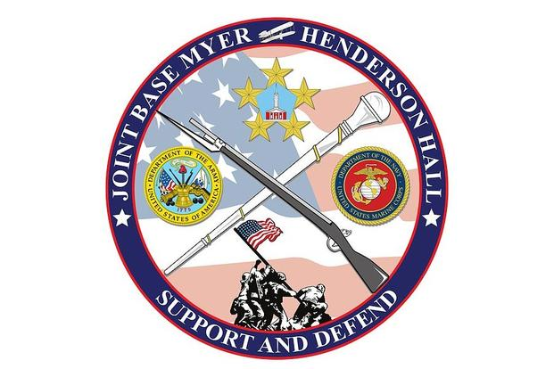 A graphic shows the base logo at Joint Base Myer-Henderson Hall, Va., July 8, 2013. (Image: DVIDS via Wikimedia Commons)