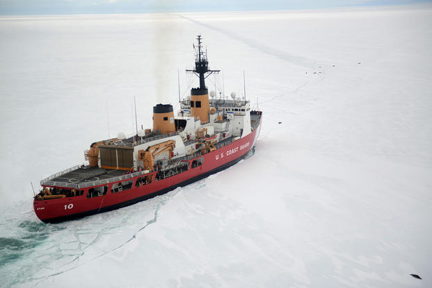 The Coast Guard Cutter Polar Star cuts through Antarctic ice in the Ross Sea (Photo: U.S. Coast Guard, Chief Petty Officer David Mosley)