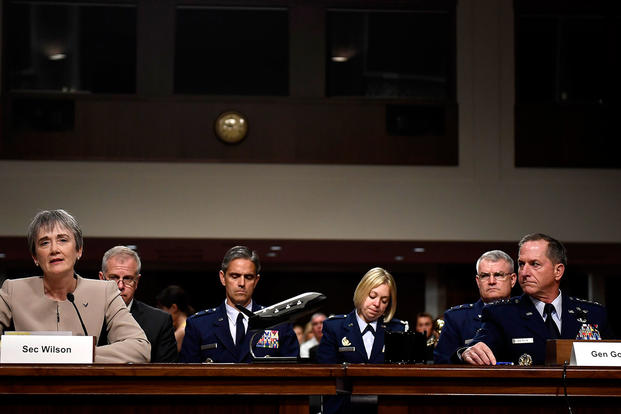 Secretary of the Air Force Heather Wilson and Air Force Chief of Staff Gen. David Goldfein testify before the Senate Armed Services Committee June 6, 2017, in Washington, D.C. (U.S. Air Force photo/Scott M. Ash)