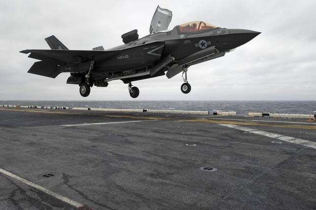 A U.S. Marine Corps F-35B Lightning II aircraft with Marine Fighter Attack Squadron (VMFA) 121 touches down on the amphibious assault ship USS Wasp (LHD 1). (U.S. Navy/Mass Communication Specialist 3rd Class Michael Molina)