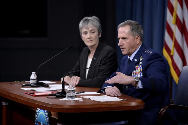 FILE -- Secretary of the Air Force Heather Wilson and Air Force Chief of Staff Gen. David L. Goldfein answer a question during the State of the Air Force address at the Pentagon, Washington, D.C., Nov. 9, 2017. (U.S. Air Force/Staff Sgt. Rusty Frank)