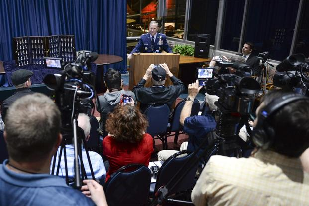 FILE PHOTO -- Chief of Staff of the Air Force, Gen. David L. Goldfein, responds to a media question during a press conference at the National Museum of the United States Air Force, April 18, 2017. (U.S. Air Force/Wesley Farnsworth)