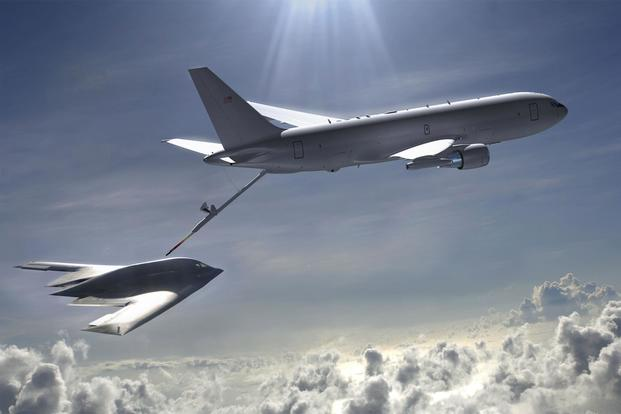 A KC-46 conducts in-flight refueling on a B-2 bomber in this illustration. (Air Force illustration)