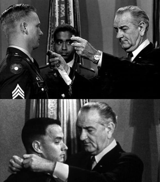 "Sammy L Davis receives his Medal of Honor, a moment that would be repurposed for the Tom Hanks movie ""Forrest Gump."""