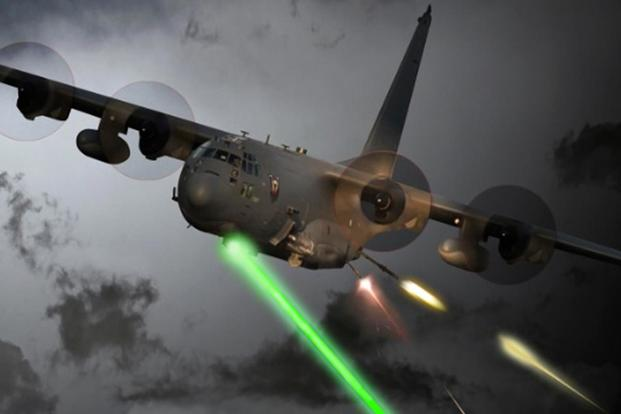 A photo illustration of an AC-130 equipped with a laser. (Image: U.S. Air Force)
