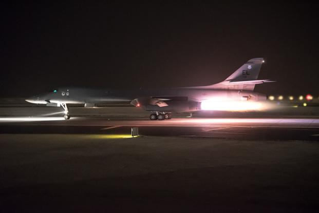 A 34th Expeditionary Bomb Squadron B-1B  Lancer aircraft assigned to the 379th Air Expeditionary Wing departs from Al  Udeid Air Base, Qatar, in support of the multinational response to Syria's  chemical weapons use. The B-1B employed 19  Joint Air to Surface Standoff Munitions against Syrian chemical weapons  targets, marking the first operational use of the JASSM-ER. (Phil Speck/Air Force)