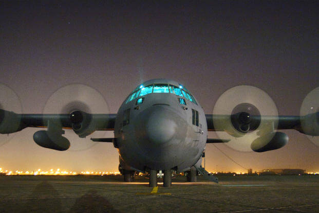 An Air Force Reserve C-130 Hercules is readied for takeoff at Sather Air Base, Iraq, on Wednesday, April 19, 2006. The aircraft is from the 302nd Airlift Wing at Peterson Air Force Base, Colo. (U.S. Air Force photo/Master Sgt. Lance Cheung)