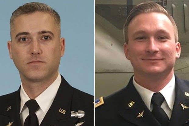 Chief Warrant Officer 3 Ryan Connolly (left) and Warrant Officer James Casadona were identified as the two Army pilots killed in an AH-64E Apache helicopter crash on Friday at Fort Campbell, Kentucky. (US Army photos)