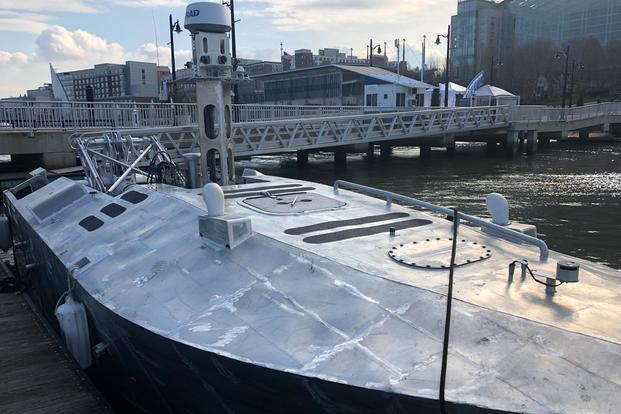 Texton's Common Unmanned Surface Vessel (CUSV) at the annual Sea-Air-Space exposition, National Harbor, Md., April 10, 2018. (Hope Hodge Seck/Military.com)