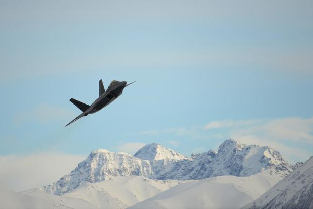 An Air Force F-22 Raptor assigned to the 3rd Wing flies over Joint Base Elmendorf-Richardson, Alaska, Feb. 27, 2018. (U.S. Air Force/Jamal Wilson)