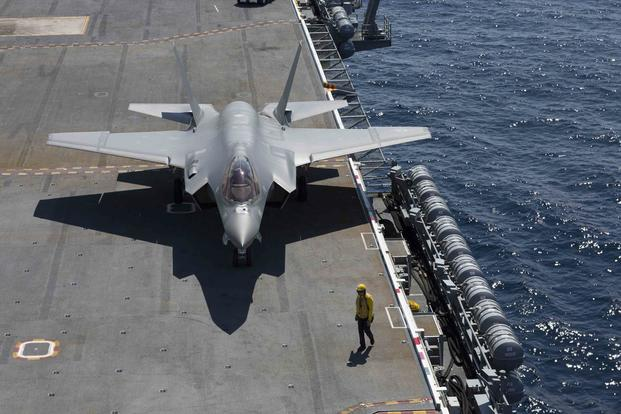 An F-35C Lightning II assigned to the Grim Reapers of Strike Fighter Squadron (VFA) 101 taxis on the flight deck of the Nimitz-class aircraft carrier USS Abraham Lincoln (CVN 72). (U.S. Navy/Mass Communication Specialist Seaman Shane Bryan)
