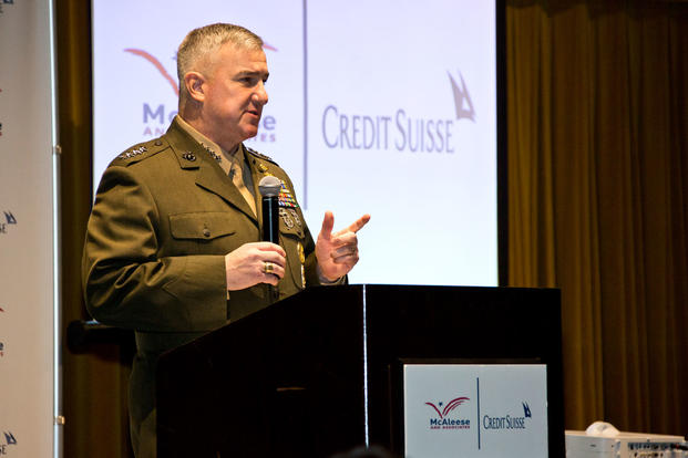 Assistant Commandant of the Marine Corps Gen. Glenn M. Walters speaks at the 9th Annual Defense Programs Conference, Washington, D.C., March 6, 2018. (U.S. Marine Corps photo/Hailey D. Clay)