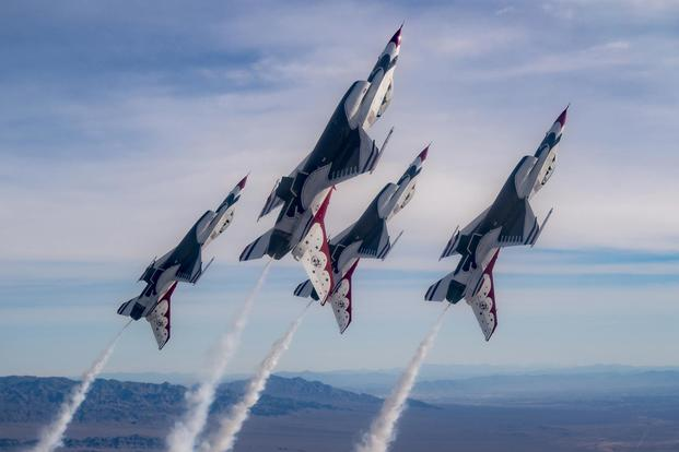 The Thunderbirds Diamond formation pilots transition during Line Break Loop maneuver over the Nevada Test and Training Range during a training flight, Jan. 29, 2018. (U.S. Air Force/Tech. Sgt. Christopher Boitz)