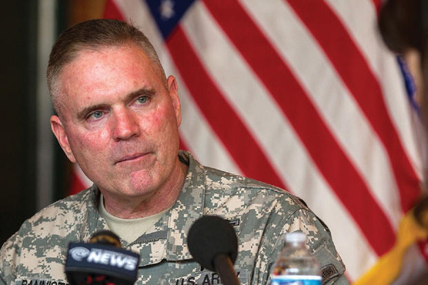 Maj. Gen. Jeffrey L. Bannister, then 10th Mountain Division and Fort Drum commander, listens to a reporter's question during  a media roundtable event. (U.S. Army photo/ Kap Kim)