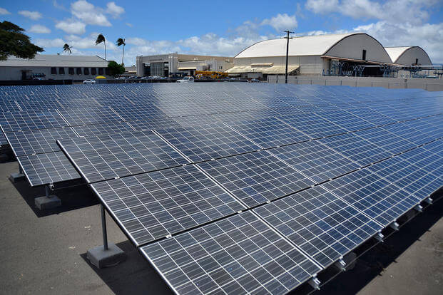 Solar panels form part of the Renewable Hydrogen Fueling and Production Station on Joint Base Pearl Harbor-Hickam, July 19, 2012. (U.S. Navy photo/Daniel Barker)
