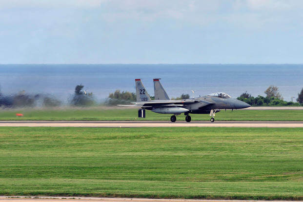 A U.S. Air Force F-15 Eagle assigned to the 67th Fighter Squadron takes off during a training sortie June 7, 2017, at Kadena Air Base, Japan. (U.S. Air Force photo/Naoto Anazawa)