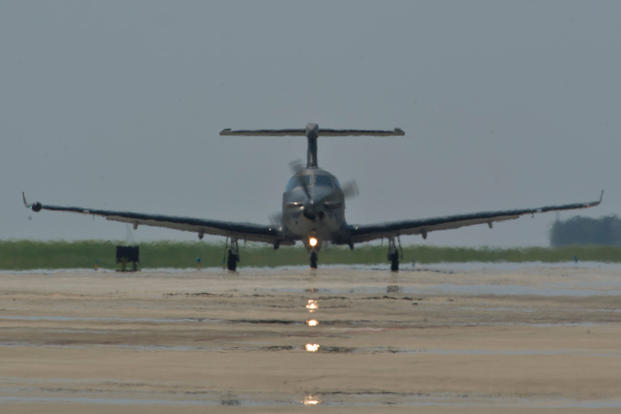 A U.S. Air Force U-28A taxis on the flightline on Hurlburt Field, Fla., Aug. 6, 2013. The U-28A provides a manned fixed-wing, on-call/surge capability for Improved Tactical Airborne Intelligence, Surveillance and Reconnaissance in support of Special Operations Forces. (U.S. Air Force Photo/John Bainter)