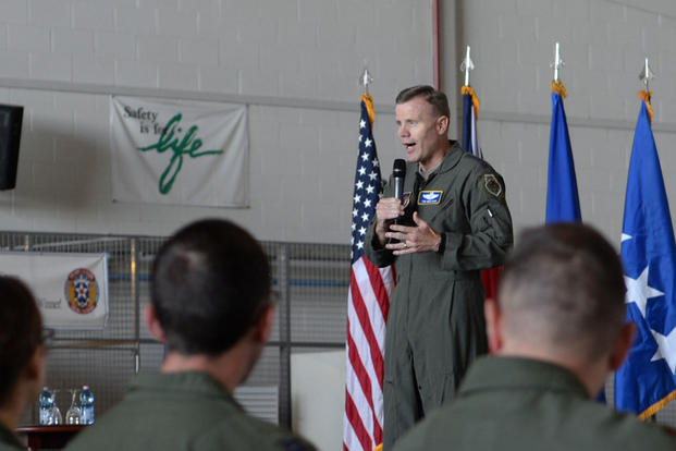 U.S. Air Force Gen. Tod D. Wolters, U.S. Air Forces in Europe and Air Forces Africa commander, speaks during an all call with Airmen of the 100th Air Refueling Wing at RAF Mildenhall, England, June 22, 2018. (U.S. Air Force photo/Alexandria Lee)