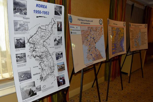 Information boards of the Korean War are displayed during a POW/MIA Accounting Agency Family Member Update in Louisville, Kentucky, May 19, 2018. (U.S. Air Force/Tech. Sgt. Robert M. Trujillo)
