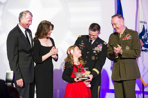 Lorelei McIntyre-Brewer, then 10, received a Military Child of the Year award during a gala in Arlington, Virginia in 2016. (U.S. Army/Sean K. Harp)