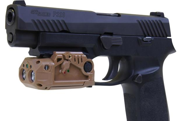 The Army is considering this pistol light made by LaserMaxDefense for use on its new Modular Handgun System. The light is shown on a Sig Sauer P320, which is similar to the XM17 MHS. (Photo: LaserMaxDefense)