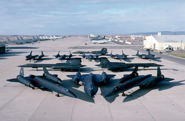 The SR-71 Blackbird, a famous Lockheed Martin Skunk Works project, is seen on a flightline. Photo via Lockheed Martin.