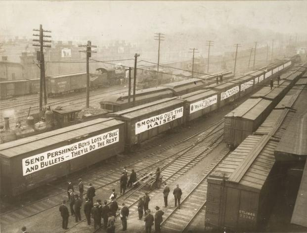 A thirty-car train carrying 11 million sacks of tobacco leaves Durham, North Carolina, en route to France where it will be rationed to troops. (Photo: National Archives and Records Administration)