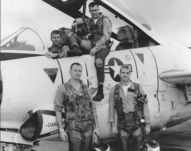 Undated photo of John S. McCain III, lower right, during flight training. (U.S. Navy photo courtesy of the Library of Congress)